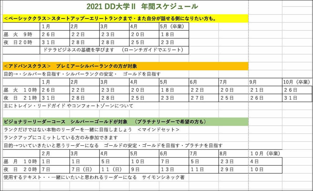 2021-DD大学Ⅱスケジュール
